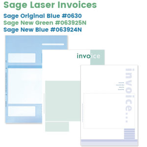 Sage Laser Invoices in Blue and Green